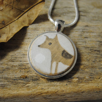 Dog - Unique Art Pendant/Necklace by Kathleen Furey. Free Worldwide Postage.