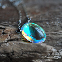 Mystic Rock Crystal Necklace. Oxidized Sterling Silver. Quartz Rainbow Prism Pendant.