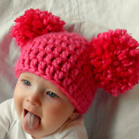 Newborn Baby Girl Hat Chunky Pink White Blue Black Brown Crochet Knit Infant Double Pom Pom Beanie Photography Prop