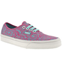 VANS AUTHENTIC VI LACE WOMENS PINK MAN MADE PLIMSOLLS TRAINERS
