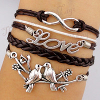 Infinity &amp; Love Birds Charm Bracelet in Silver-Wax Cords and Leather Bracelet, Friendship gift--Personalized Bracelet