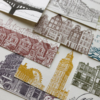 2012 Letterpress Cityscape Postcard Wall by albertinepress on Etsy