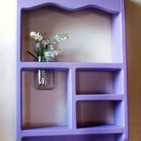Painted Wood Shadow Box Shelf with Jar Vase and by LegacyStudio