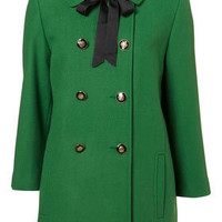 Short Green Grosgrain Tie Coat - Coats - Apparel - Topshop USA