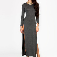 slit-maxi-dress BLACK CHARCOAL CORAL MOCHA ROYAL - GoJane.com