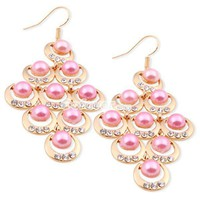 Fashion Lustrous Pearl&amp;Clear Rhinestone Dangle Earrings at Online Cheap Fashion Jewelry Store Gofavor