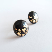 Black Gold Stud Earrings - Polymer Clay and Resin Jewelry