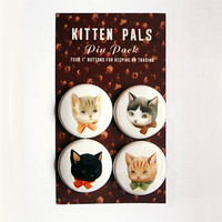 Pinback Button Pack Kitten Pals by theblackapple on Etsy