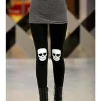 FREE SHIPPING Skull Heads Printing Elastic Cotton Black Legging M/L from DressLoves