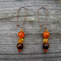 burnt sienna  orange &amp; brown beaded copper by MamasNestDesigns