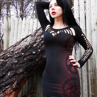 Steampunk Gothic Zombie Apocalypse Gears Shredded Woven Bodycon Dress