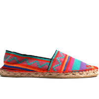 1990s vintage DEADSTOCK Tribal Slip On ESPADRILLES Canvas Shoes / Braided Jute Platform / Sz. 6 // 6.5 // euro 36