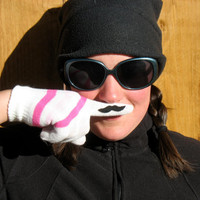 Mustache Gloves for Kids White with Pink Strips by MustHaveStaches
