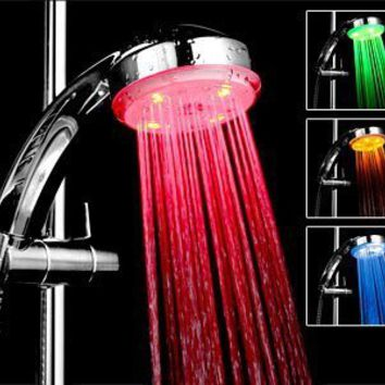 Bathroom Shower Heads Temperature Controlled Lights 3 Colors LED Light Shower Head