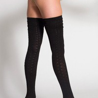 Chain-Link Solid Thigh-High Sock | Shop American Apparel