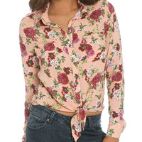 Floral Tie Front Shirt | Shop Tops at Wet Seal