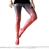Galaxy Tight - Crimson Nebula Ombre Tights, Sheer Leggings