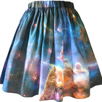 Mystic Mountain Nebula Skirt, Organic Cotton, Galaxy Print.