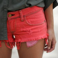 Wildfox Friday Night Shorts in canyon coral