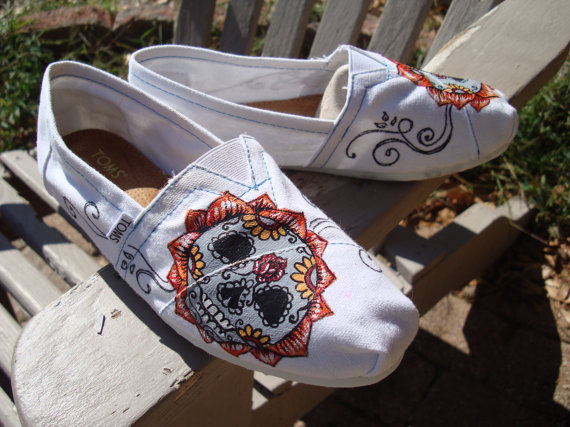 sugar skull painted on TOMS shoes by from ArtfulSoles on Etsy
