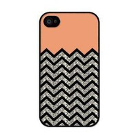 Amazon.com: EverestStar Chevron Pattern Coral and Black Hard case for iphone 4/4s(NOT GLITTERY): Cell Phones &amp; Accessories