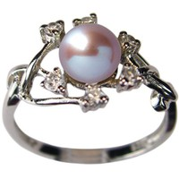 Entwining Vine Cultured Pearl Cubic Zirconia Ring in Platinum Overlay CAREFREE Sterling Silver, Lav