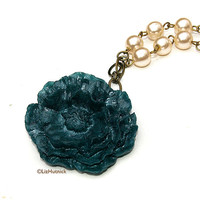 FREE SHIPPING. Shimmer Teal Poppy and Faux Pearls Necklace. Statement Jewelry. Big Flower Necklace