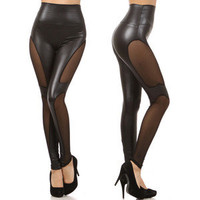 Black High Waist Sheer Panel Insert Leggings Womens Pants Trousers Fashion Trend