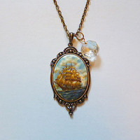 Tumultuous Seas Pirate Ship Cameo Necklace with by LaPlumeNoir