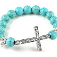 Amazon.com: Turquoise Beads Sideways Cross Bracelets Fashion: Jewelry