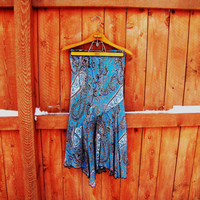 vintage blue paisley skirt. made in India by Indira. size M