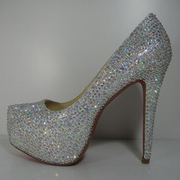 Custom Silver Crystal Pumps with Red Bottoms