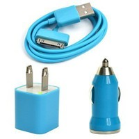 Amazon.com: Case Star USB Wall Charger and USB Mini Car Charger with 3 Feet USB Charge and Sync Data Cable for iPod Touch,iPod Nano,iPhone 3G/3G/4/4S - Aqua Blue: Cell Phones & Accessories