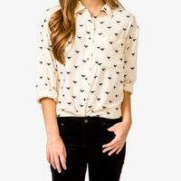 Bird Print Shirt | FOREVER 21 - 2019950945