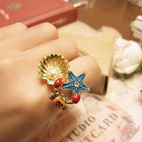 Fashion Starfish&Crab Cocktail Ring