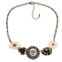 TX-1560N Fashionable Rose Shape Pearl and Bronze Necklace Neck Chain Neck Ornament for Female Woman