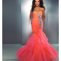 Mac Duggal Prom 2013-Orange Candy Ruffle With Embellishments - Unique Vintage - Cocktail, Pinup, Holiday &amp; Prom Dresses.