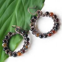 Beaded hoop earrings - Carnelian gemstone beads - copper wire wrapped