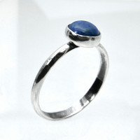 Stacking Ring in Denim Lapis, Sterling Silver Ring with Denim Lapis Cabochon