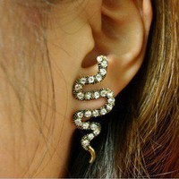 Enchanting Clear Rhinestone Snake Stud Earrings - wanelo on we heart it / visual bookmark #18647015