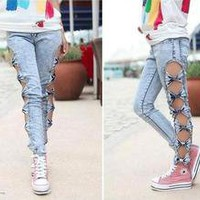 Vintage Detailed Woman&#x27;s Retro Side Bow Cutout Ripped Denim Sexy Jeans Leggings