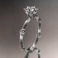 14k white gold diamond vine and leaf wedding ring,engagement ring.......