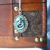 Harry Potter Slytherin Cameo Necklace by CraftyTeapot on Etsy