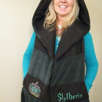 Harry Potter Hogwarts Slytherin Hooded Scarf with by batgirl93