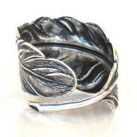 Steampunk FALLEN ANGEL FEATHER Ring - Antique Silver - Neo Voctorian - Gothic - By GlazedBlackCherry
