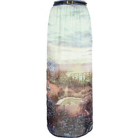 Blue country scene print maxi skirt