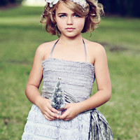 Dove Grey Vera Flapper Flower Girl Dress With by DolorisPetunia
