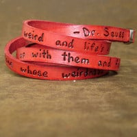 Dr Seuss Weirdness Love Quote on Ultra Long Leather by Cjohannesen