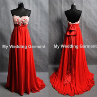 Custom Prom Dress Red Bridesmaid Dress by Myweddinggarment on Etsy