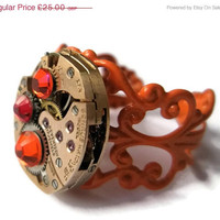On Sale 25% off Jewelry Steampunk Ring Vintage Watch Ring clockwork Hyacinth Orange Siam Red Swarovski crystal Orange  Filigree ready to sh